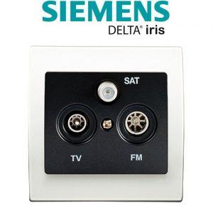 Siemens Prise TV/FM/SAT Anthracite Delta Iris + Plaque basic Blanc
