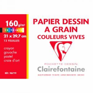 Clairefontaine Pochette de 12 feuilles papier dessin couleur teintes vives - 160g - 24x32cm