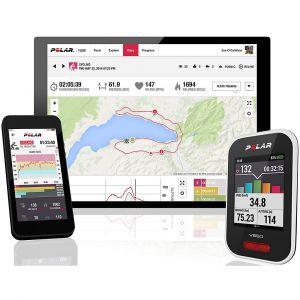 Polar V650 Compteur Vélo GPS Intégré avec Ceinture Capteur de Fréquence Cardiaque Mixte Adulte, Blanc, Moyen
