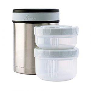 Laken Lunch-box isotherme inox 1 litre, 2 compartiments et housse