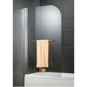 Schulte-ufer Pare-baignoire rabattable 80 x 140 cm, verre 5 mm anticalcaire, paroi de baignoire 1 volet, écran de baignoire pivotant, Capri Deluxe, profilé aspect chromé