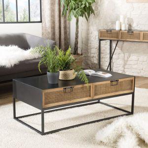 Macabane Maisonetstyles Table basse 2 tiroirs en rotin naturel et métal noir - JUDY