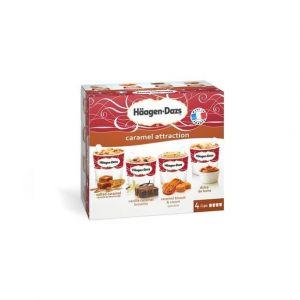 Häagen-dazs 4 Minipots de glace, Caramel Attraction, Caramel au beurre salé, Vanilla Caramel Brownie, Caramel Biscuit, Speculos & lait - La boîte de 4 pots, 344g