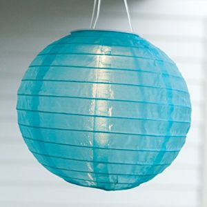 Lights4Fun Lampion Chinois LED Solaire Bleu à Suspendre, 20cm par