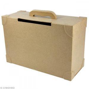 decopatch Support à décorer en papier mâché - Urne valise - 14,5 x 36 x 23,5 cm