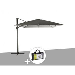 Hesperide Parasol déporté carré Elea 3 x 3 m Graphite/Ardoise avec housse de protection