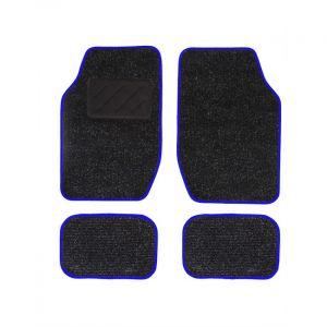 Spot 4 tapis de voiture universels moquette noir ganse bleue