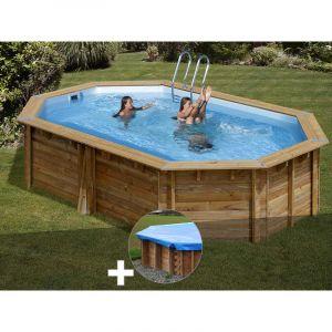 Sunbay Kit piscine bois Cannelle 5,51 x 3,51 x 1,19 m + Bâche hiver