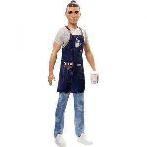 Mattel Ken Métiers poupée Barista avec tablier et tasse de café, jouet pour enfant, FXP03