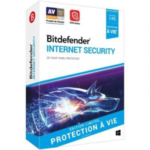 Logiciel antivirus et optimisation Bitdefender Internet Security à vie 1 PC [Windows]