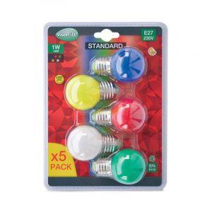 Vision-El LOT de 5 ampoules 1W LED Culot E27 ROUGE VERT JAUNE BLEU 3000°K -
