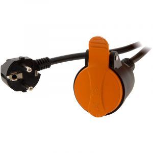 Zenitech Rallonge étanche 2P+T H07RN-F 3x 1,5mm² 5m avec clip de fixation orange