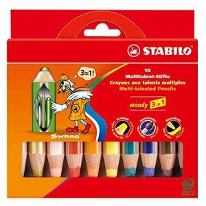 Stabilo 10 Crayons Woody 3 en 1 assortis