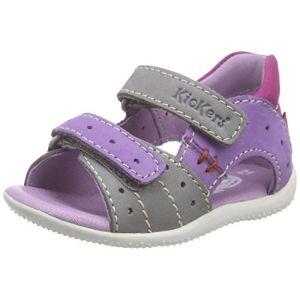 Kickers Boping, Chaussures Bébé Marche bébé fille, Gris (Gris/Violet Clair/Fuchsia), 20 EU