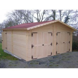 Habrita Garage double en madriers massifs 42mm 35,00 m²
