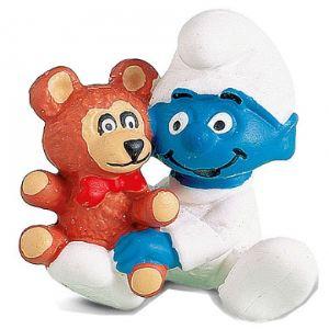 Schleich 20205 - Figurine bébé Schtroumpf avec l'ours Teddy