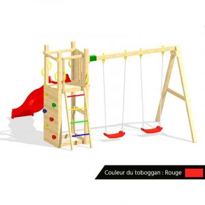 Fungoo Aire de jeux Funny 3 + balançoire double + Toboggan Rouge