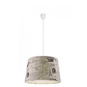 Globo Suspension luminaire salle crème lumière éclairage textile Paris imprimer noir H 21692
