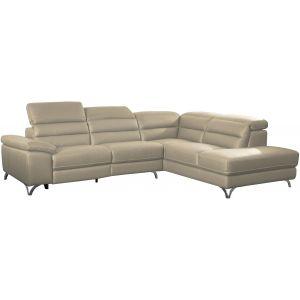 Comforium Canapé d'angle design avec relax électrique et méridienne droite en cuir véritable et cuir synthétique crème