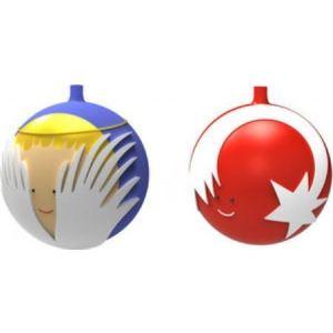 """Alessi AMJ14SET3 - 2 boules de Noël """"Etoile et Ange"""" en verre soufflé"""