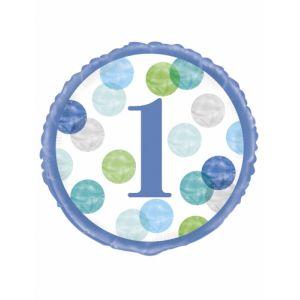 Ballon li 1 an blue dots