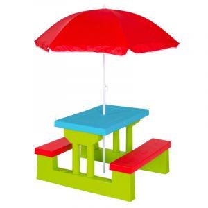 Ensemble de jardin pour enfant 2 bancs parasol table d'activité sièges lavable + parasol
