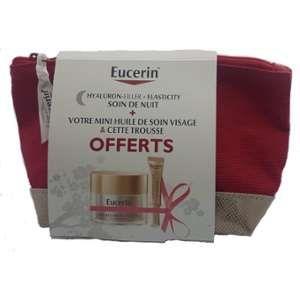 Eucerin Soin de nuit Hyaluron Filler Elasticity, mini huile soin visage et trousse