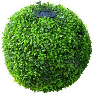 Mundus Boule solaire Topiaire - Ø38 cm - Vert - A poser ou à piquer - Décoratif de jour par son format boule art topiaire - 38 x 38 x H 33 cm