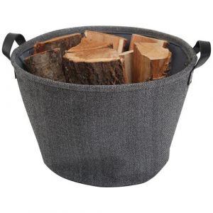Le Marquier Panier à bûches rond toile de jute - gris - Accessoire chauffage