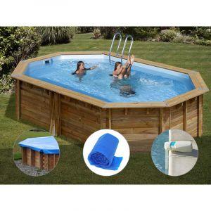 Sunbay Kit piscine bois Cannelle 5,51 x 3,51 x 1,19 m + Bâche hiver + Bâche à bulles + Alarme