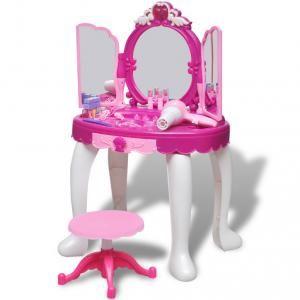 VidaXL Coiffeuse de jouet avec lumière/son et 3 miroirs pour enfants