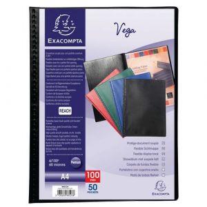 Exacompta Lot de 5 protège-documents PVC - 100 vues - vega opaque - A4 - Noir - 88521E