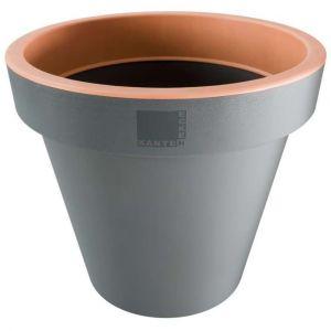 Provence Outillage Pot de fleurs rond saumon et gris Diamètre 25 cm - ECKEN KANTEN