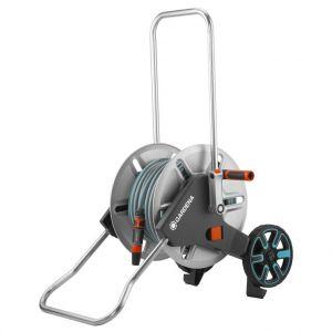 Dévidoir équipé gris sur roues avec tuyau de 25 m
