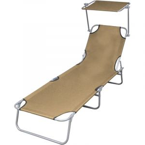 VidaXL Chaise longue pliable avec auvent Acier Taupe