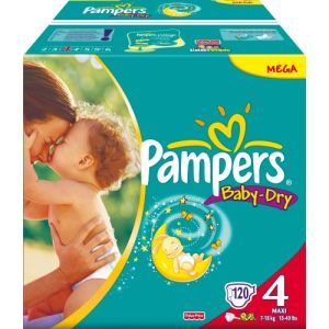 Pampers Baby Dry taille 4 Maxi (7-18 kg) - Mega pack x 120 couches