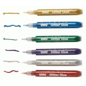 UHU Blister de 6 tubes de colle à paillettes
