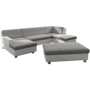 Comforium Canapé d'angle panoramique design avec méridienne gauche et pouf en tissu gris et cuir synthétique blanc