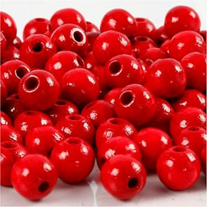 Perles en bois, d: 8 mm, la taille du trou 2 mm, rouge, 15gr, env 100 pièce