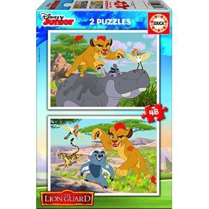 Educa Disney Junior, La garde du Roi Lion - Puzzle 2 x 48 pièces