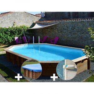 Sunbay Kit piscine bois Safran 6,37 x 4,12 x 1,33 m + Bâche hiver + Alarme