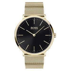 Hugo Boss Montre 1513735 - horizon boitier acier plaqué ionique or jaune cadran noir bracelet acier maille milanaise or jaune Homme