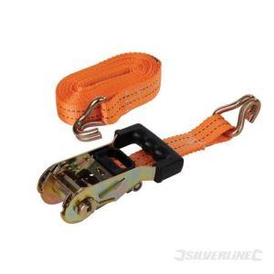 Silverline 453254 - Sangle d'arrimage 2 tonnes à tendeur à cliquet caoutchouté 6m x 38mm