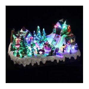 Village de Noël lumineux Scène de folies des cadeaux