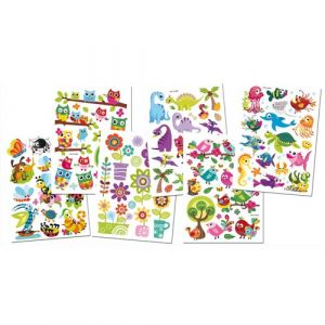 Stickers gel 3D - Lot de 6 planches