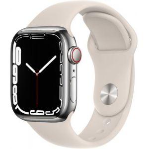 Apple Watch Series 7 GPS + Cellular Silver Stainless Lumière Stellaire Bracelet Sport 41 mm