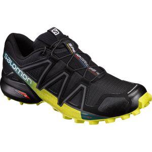 Salomon Speedcross 4 - Chaussures à Randonnée - Homme - Noir/Jaune (Black/Everglade/Sulphur Spring) - 42 2/3 EU