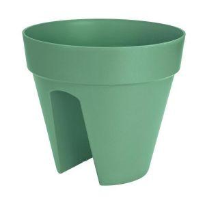 Loft URBAN Pot cavalier - Ø30 cm - Vert jade - Réservoir d'eau - Balustrades jusqu'à 6 cm de large - 2 fixateurs - Résistant au gel- Plastique recyclable