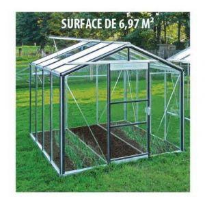 ACD Serre de jardin en verre trempé Royal 24 - 6,97 m², Couleur Silver, Filet ombrage non, Ouverture auto Oui, Porte moustiquaire Non - longueur : 2m98