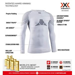 X-Bionic Invent 4.0 Shirt Round Neck Long Sleeves Men Sport Maillot de Compression Homme, White/Black, FR : L (Taille Fabricant : L)